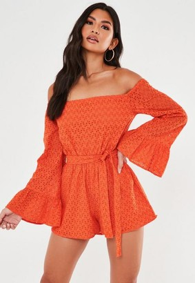 Missguided Orange Broderie Anglaise Flared Sleeve Romper