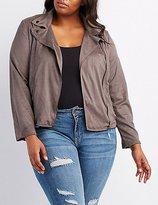 Charlotte Russe Plus Size Faux Suede Moto Jacket