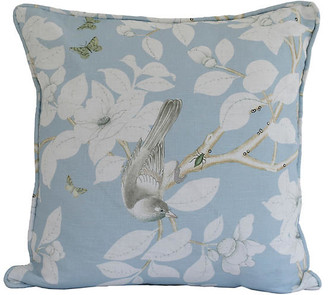 Dawn Wolfe Design Chinoiserie 20x20 Pillow - Pale Blue/White Linen