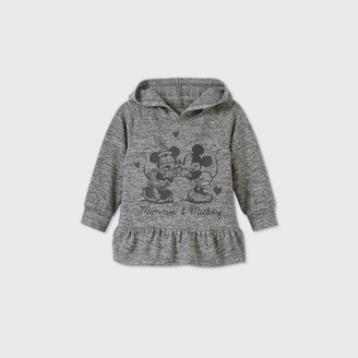 Mickey Mouse & Friends Toddler Girls' Mickey and Minnie Mouse Hooded Pullover Sweatshirt - Heather Gray