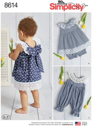 Simplicity In K Designs Children Dress and Romper Sewing Pattern, 8614