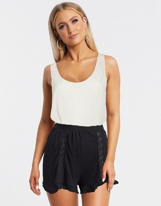 Asos DESIGN textured short with lace inserts