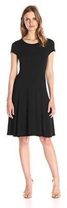 Lark & Ro Amazon Brand Women's Cap Sleeve Knit Fit and Flare Dress