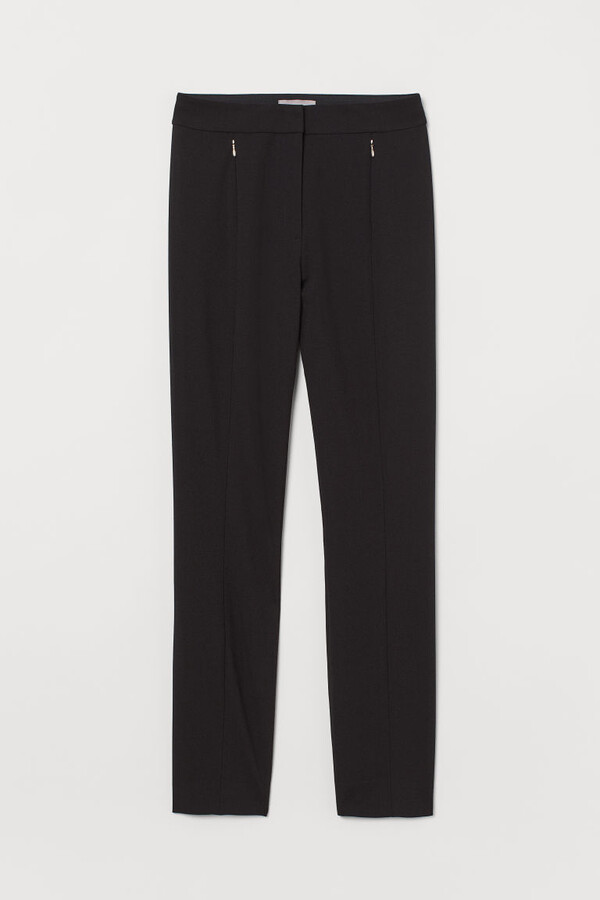 H&M Slim Fit Pants with Stretch - Black