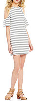 Chelsea & Theodore Striped Cold-Shoulder Short Sleeve Ruffle Dress