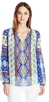 Hale Bob Women's Mojitos After Dark Washed Silk Chiffon Beaded Detail Blouse