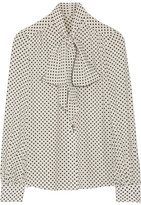Marc Jacobs Pussy-bow Polka-dot Silk Crepe De Chine Blouse - Off-white