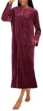 Miss Elaine Women's Brocade Micro Fleece Long Zipper Robe