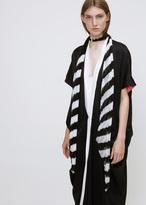 Haider Ackermann black / white plisse knot scarf