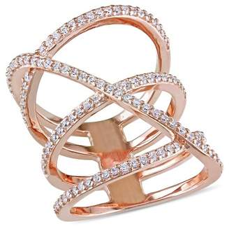Allura Distributed by Target 1.06 CT. T.W. Cubic Zirconia Openwork Crossover Ring in Pink Plated Sterling Silver