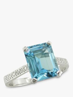 E.W Adams 18ct White Gold Diamond Shoulder Cocktail Ring, Aquamarine