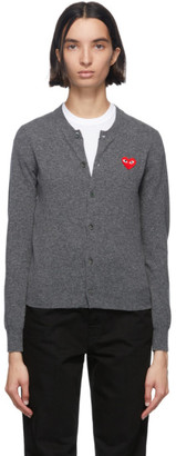 Comme des Garcons Grey and Red Wool Heart Patch Cardigan