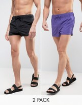 Asos Swim Shorts 2 Pack In Purple And Black In Super Short Length