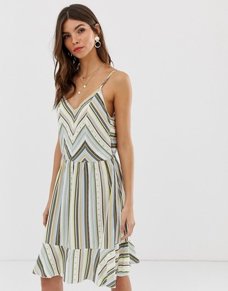 Vila printed stripe open back dress-Multi