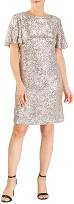 Forest Lily Sequin Shift Dress