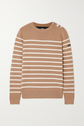 Marc Jacobs + Armor Lux The Breton Embellished Striped Wool Sweater - Camel