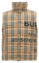 Burberry Typeface-logo Checked Quilted-down Gilet - Mens - Beige Multi