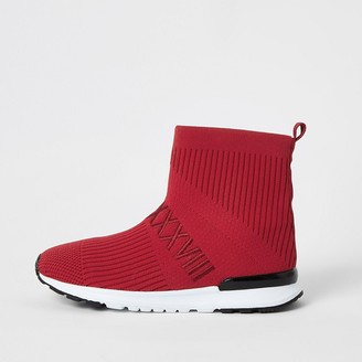 River Island Boys red ribbed hi-top sock trainers