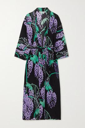 Bernadette BERNADETTE - Peignoir Floral-print Silk Crepe De Chine Midi Wrap Dress - Black