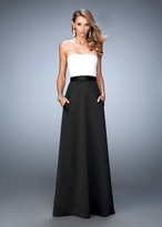 La Femme 21555 Strapless Two-Tone Satin Evening Gown
