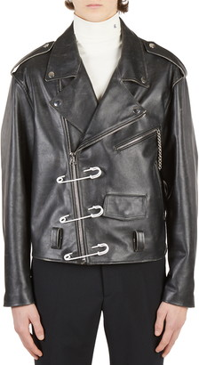Raf Simons Safety Pins Leather Moto Jacket