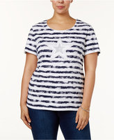 Karen Scott Plus Size Cotton Embellished T-Shirt, Only at Macy's