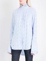 Ellery Angelus pleated striped cotton-poplin shirt