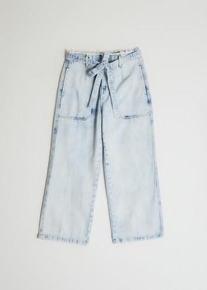 Farrow Women's Franzia Tie Waist Denim Pant in Acid Wash, Size Extra Small | 100% Cotton