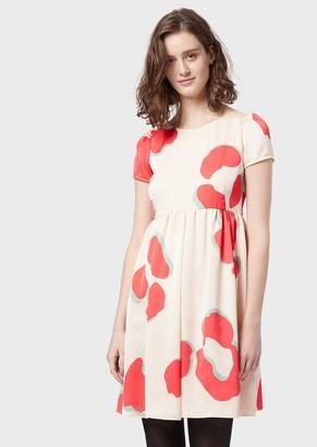 Emporio Armani Crepe Dress With Leoflower Print