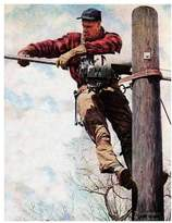 Art.com The Lineman (or Telephone Lineman on Pole) Premium Giclee Print By Norman Rockwell - 46x61 cm