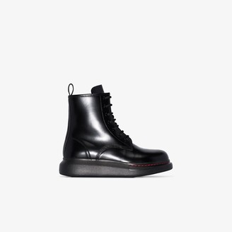 Alexander McQueen black Hybrid contrast lace-up boots