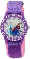 Disney Girl's 'Frozen Elsa' Quartz Plastic and Nylon Casual Watch, Color:Purple (Model: WDS000176)