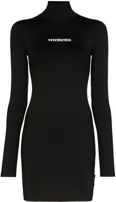 Vetements logo print long-sleeve mini dress