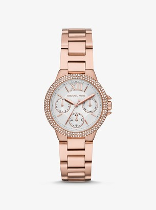 Michael Kors Mini Camille Pave Rose Gold-Tone Watch