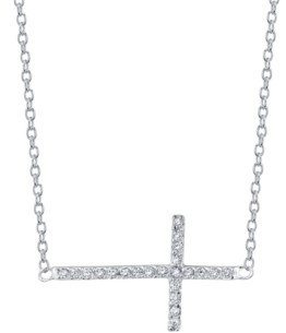 "Unwritten Cubic Zirconia East-West Cross 18"" Pendant Necklace in Sterling Silver"