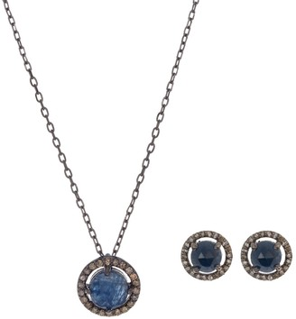 ADORNIA Rhodium Plated Sterling Silver Diamond and Sapphire Pendant Necklace & Earring Set