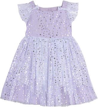 Pastourelle Foil Dot Mesh Tiered Dress