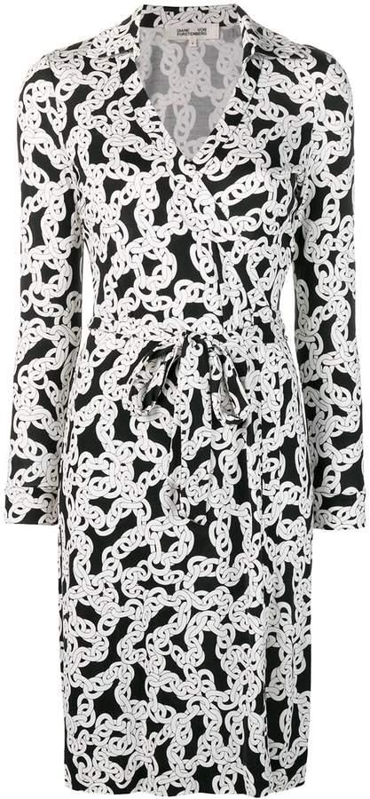 Diane von Furstenberg crawling chain wrap dress
