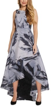 Adrianna Papell Plus Size Printed High-Low Gown