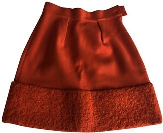 Alberta Ferretti Orange Wool Skirt for Women Vintage