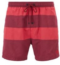 HUGO BOSS - Quick Dry Swim Shorts With Melange Block Stripes - Open Red