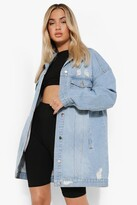 boohoo Lucy Distressed Longline Denim Jacket