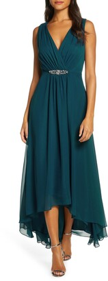 Brinker & Eliza Embellished High/Low Chiffon Dress