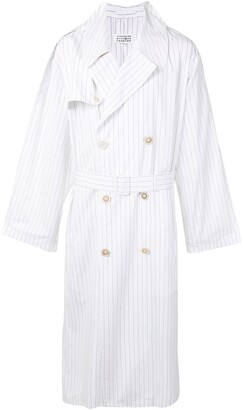 Maison Margiela Pinstriped Belted Trench Coat