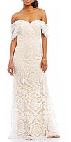 Tadashi Shoji Off-The-Shoulder Illusion Lace Gown
