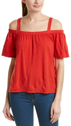Velvet by Graham & Spencer Women's Cotton Slub Off The Shoulder Tee