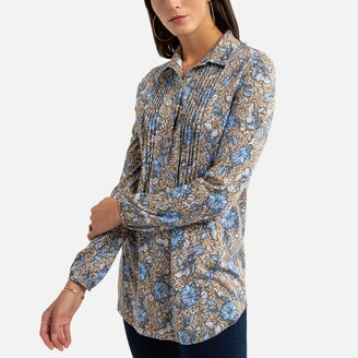 Anne Weyburn Cotton Mix Tunic with Long Sleeves and Polo Collar
