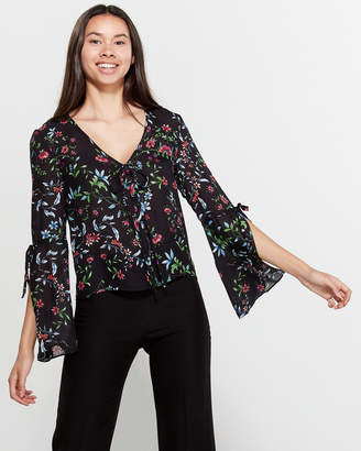 Milly Floral Drawstring Long Sleeve Silk Blouse