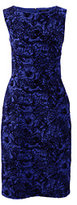 Lands' End Women's Petite Sleeveless Ponte Sheath Dress-Soft Royal Flocked Floral