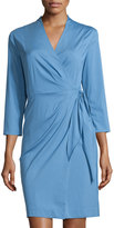 Lafayette 148 New York Dolly 3/4-Sleeve Wrap Dress, Vista Blue